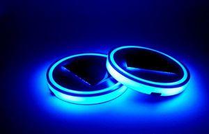 الأزرق led سيارة كأس حصيرة الشمسية المضادة للانزلاق زجاجة حامل الوسادة المشروبات كوستر المدمج في الاهتزاز ضوء الاستشعار