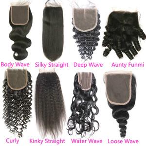 Raw Indiano cabelo Lace Encerramento Oriente gratuito 3 Parte Water Wave Top Lace Closures Pedaço Nós descorados não transformados Wet cabelo humano e ondulado