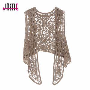 Jastie Coseta de punto abierto asimétrico Summer Beach Boho Hippie People Style Crochet Knit bordado blusa chaleco sin mangas