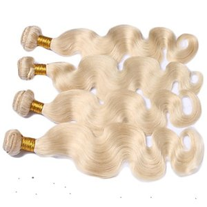 Servicio Premium 100% del cabello humano que teje 1pcs / 100g Platinum Blonde Color Extensión del pelo Remy 10-30 Inchs Virgen Body Wave Hair Extension