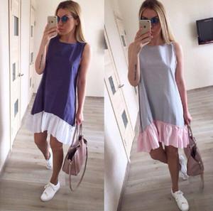 2018 Yeni Moda Kadınlar Yaz Elbise Gevşek Patchwork Flounced Fishtail Sarkaç Kolsuz Kadın Elbiseler 4 Renkler
