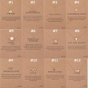 136 Diseños Dogeared Joyas Gargantillas Collares Con Tarjeta Colgante Plateado Oro Plata Collar Pequeño Regalo para Amigos Familias Regalo de la promoción