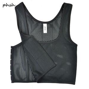 PHSH Lésbica Tomboy Fabrice Malha Respirável Respirável Fichário 3 Fivelas Espartilho Trans Cosplay Breast Binder Vest para o verão