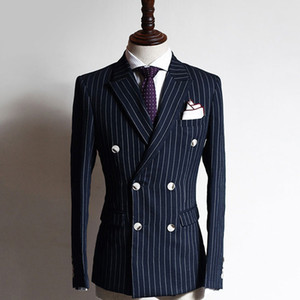 Navy Grid Business Formal Men Suits Double Breasted Peaked Lapel Two Piece Custom Made Groom Wedding Tuxedos (Jacket + Pants)