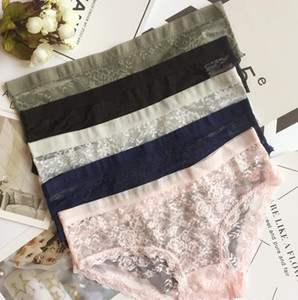 Ropa interior atractiva del cordón de las mujeres 5 colores ven a través de las bragas elástico Wasit de las bragas sólidas del tamaño libre escritos femeninos