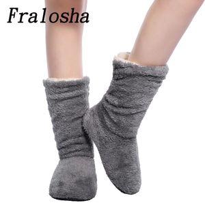FRALOSHA دروبشيبينغ النساء بالجملة القطيفة الرئيسية حذاء المرجان الصوف الطابق داخلي سوك شتاء أدفأ القدم أسفل لينة النعال