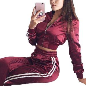 2018 Sexy due pezzi Set Tute da donna Zipper Crop Top e pantaloni Casual Satin Womens Sporting Suit Outfit Tailleur Femme