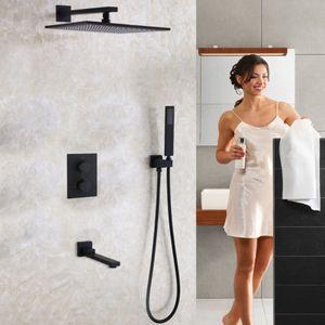 DULABRAHE Blacken Banho Set torneira do chuveiro 12 polegadas Rainfall banho Poliban Banheira Chuveiro Mixer Tap