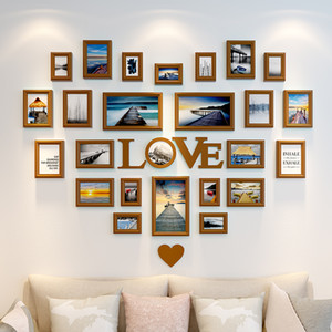 Photo Frames for Picture Wall Decorative Wall Frames Wood Hanging Photo Frames Set Decor Home 25 Pieces Heart Shape Love Style Home Decor