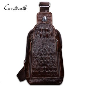 CONTACT'S Fashion Genuine Leather Men Bag Brand Alligator Leather Vintage Crossbody Bags Famous Brand Small Men's Messenger Bag