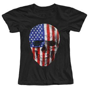 Flag Tee Crânio americano da Mulher Patriótica das mulheres T-shirt 2017 Summer Fashion Feminino T Character shirt dos desenhos animados Hipster Impresso Feminino