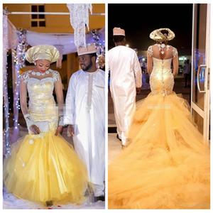 2018 Vintage Robes De Mariée Longues Nigeria Sirène Cristal Perlé Tulle Robes De Mariée Plus La Taille Africain Mince Robes
