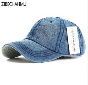 ZJBECHAHMU Chapéus Verão Casual Sólidos Denim Homens Mulheres de beisebol ajustável bonés Snapback Vintage Hats Vestuário Acessórios