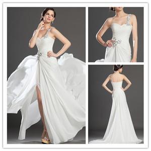 Tout Blanc Robe De Bal Une Épaule Cuisse Haute Fente Robe Robes De Fête De Soirée Cristal Perlé Dos Nu Doux Junior Filles