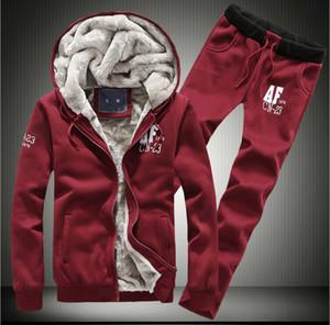 Kalın Hoodies Erkek Kış Eşofman Spor Giyim Sıcak Kapüşonlu Tişörtü Hoodies + Pantolon Seti