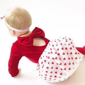 Baby Backless Bow Momber Baby Girl Manga Larga Manga Monubre Newborn Velvet Rampers Niños Ropa para bebés