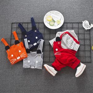 Retail Baby Boys Gentleman Rompers Primavera Verano 2 Piezas Monos de manga larga Raya Cat Face Romper para niños