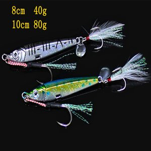 Realistischer Fisch Muster Jigs Metall Laser Kunstköder mit Einzel- und Drillinge 40g 80g Blei Eisen VIB Fischköder