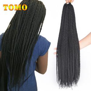 TOMO Crochet Tressage Extensions cheveux pur / Ombre Brun Gris Bourgogne 3X Boîte Braid synthétique Kanekalon Tressage de cheveux pour les femmes Black Or White