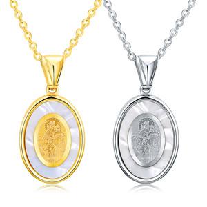 Madre di mollusco in acciaio inox religiosa cattolica dea gioielli della Madonna Vergine Maria Santa Madre di Dio ciondolo collana per le donne
