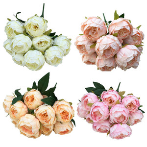 Büyük 10 Kafaları Vintage Ipek Çiçek Avrupa Yapay Çiçekler Buket Güz Canlı Şakayık Sahte Yaprak Düğün Ev Partisi Dekorasyon