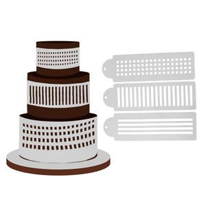 3 unids / lote Stripes Cake Stencil Sugarcraft decoración Molde de la torta de la cocina Hornear herramientas de pastel Fondant e Herramientas de decoración FE5M1