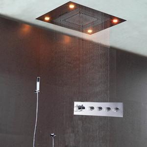 현대 샤워 세트 온도 조절 수도꼭지를 눌러 4 가지 큰 흐름 Reccessed 천장 샤워 헤드 은폐 샤워 욕조 수도꼭지