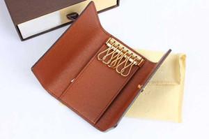 ¡Envío libre! Mujeres nuevas de cuero genuino populares 6 llaves del diseñador monedero monedero pequeño bolso de la mano con la caja 62630