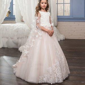 Schöne Bow Perlen Blumenmädchen Kleider 2018 Eine Linie Spitze Oansatz für Hochzeiten Mädchen Zipper Zurück Party Kommunion Kleid Pageant Kleider
