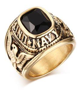 United States Navy Rings, Corps de la Marine, USMC, Acier inoxydable Plaqué Or Noir / Vert / Rouge CZ Stone Taille US 8-11