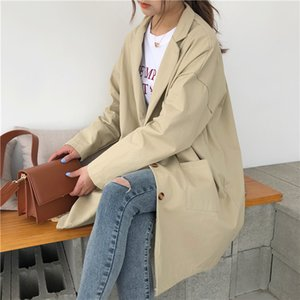 Snordic 2018 Spring Long Trench Coat for Women Wide-waisted Cotton Pockets Turn-down Collar Single Breasted Sweet Windbreaker
