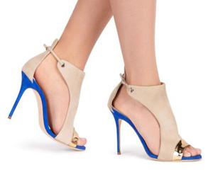 2018 Faux Deri Akın Kapak Topuk Kadın Sandalet Karışık Renk Peep Toe Ayakkabı Büyük Boy Bayanlar Ayakkabı