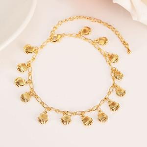 Nova Coreano Moda Fina Amarelo 14 K Real ouro Sólido GF Ilimitado Charme Multi-elemento Pulseira alongar Tamanho comprimento Anklet Verão Estilo Praia