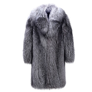 S-5XL New Fashion High imitation Fox Fur Trench Coat Thickness Long Overcoat Winter Faux fur Coat Men Clothing