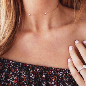 Damen Simple Star Choker Halskette Fünfzackigen Stern anhänger Schlüsselbein Halskette Schmuck Halsketten für Frauen gold Silber Kette