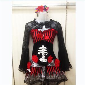Тема костюм высококачественный призрак невеста сексуальный ужасный череп скелет клоун косплей платье день мертвых костюмов Хэллоуина для женщин