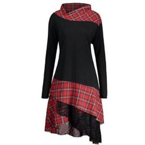 All'ingrosso-PlusMiss Plus Size 5XL Vintage pannello scozzese in pizzo tunica lungo top donna Autunno 2018 manica lunga asimmetrico camicetta grande formato
