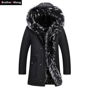 Kardeş Wang Marka 2017 Kış Yeni erkek Uzun Aşağı Ceket Kapşonlu Kalın Sıcak Ceket Beyaz Ördek Aşağı Ceket Artı Boyutu 4XL 5XL