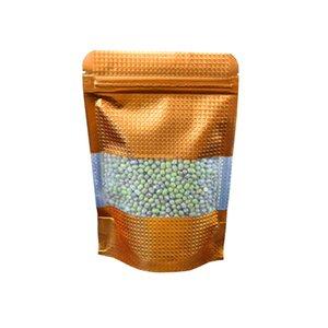 12 * 20 cm 100 Unids / lote Oro Stand Up Aluminio Cremallera Con Clear Window Packing Bag Bolsa de Paquete Superior Bolsa de Almacenamiento de Válvula de Almacenamiento