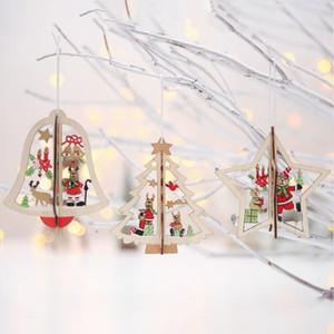 Bar Club 3D Mini Ahşap Noel ağacı Bell Yıldız Süsleri Ev Noel ağacı Süsleme Opp Paketi Soğuk