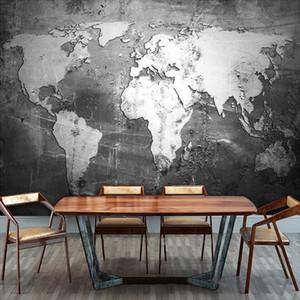 O tamanho personalizado World Map 3D de alta qualidade Mural Para o Office Estudo Sala Retro preto e branco Eco-friendly Wallpaper