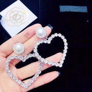 Grandi orecchini a forma di cuore da donna di moda europea Moda originale per creare orecchini di perle Contatore con gli stessi orecchini con diamanti