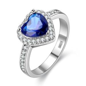Роскошная принцесса кольцо кубического циркония сердце вырезать 925 посеребренные синий латунный обручальное кольцо для женщин size6-9