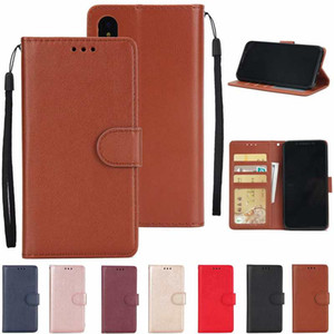 PU carteira de couro capa para Iphone 12 11 XR XS MAX 8 7 6 Galaxy S20 FE A21S S10 Nota 10 Plain Cartões de fotografias slot Quadro Virar Titular Capa Strap