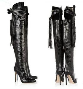 Боттес Femmes 2018 Мода Женская Обувь Стилет Высокий Каблук Бахрома Пинетки Острым Носом Пряжка Ремень Черный Кожаный Колено Высокие Сапоги
