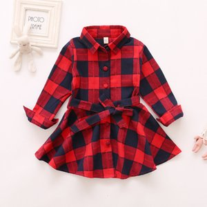 New Arrival Girls boutique Outfits Spring clothes dress Girls Butterfly skirts grid Children clothing Baby kids long tees Shirts