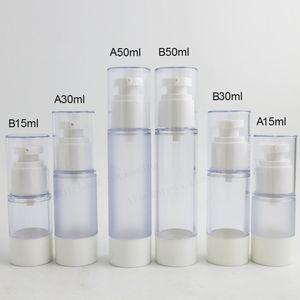 20 x 15 ml 30 ml 50 ml Clear Frost pp Airless Pump Bottle Contenedor de viaje recargable Cosmético Cuidado de la piel Airless Contenedores