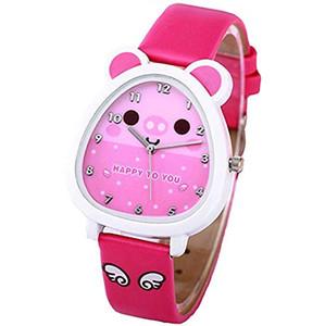 Girls Watch,Time Teacher Watch with 3D Cartoon Leather Band Watches for Little Teen Girls Kids Toddlers Children