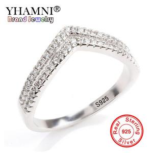 YHAMNI 2018 Yeni Moda Yüzük 925 Ayar Gümüş Kübik Zirkonya Takı Kadınlar için Trendy Çift V Şekli Yüzükler JZ228