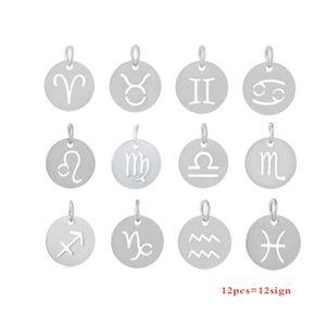 316L Zodiac Charms 12 Signes Bijoux DIY Ne Fade Jamais En Acier Inoxydable Charme Poli Avec Anneau De Sauter Bijoux 24pcs / set